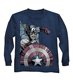 Marvel® Boys' 4-7 Long Sleeve Captain America Tee
