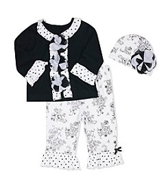 Baby Essentials® Baby Girls' Floral Applique Cardigan And Leggings Set With Hat