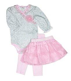 Baby Essentials® Baby Girls' Leopard Bodysuit, Tutu, And Leggings Set