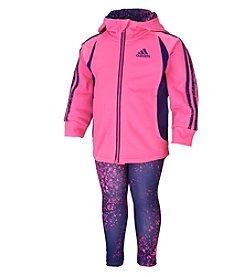 adidas® Baby Girls' Hooded Tricot Jacket And Leggings Set