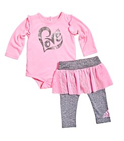 adidas® Baby Girls' Love Bodysuit And Skort Leggings Set
