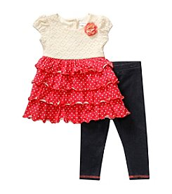 Sweet Heart Rose® Baby Girls' Polka Dot Tiered Top And Leggings Set