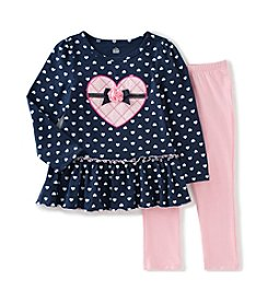 Kids Headquarters® Baby Girls' Heart Peplum Tunic And Leggings Set
