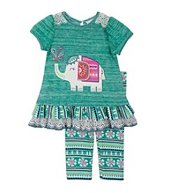 Rare Editions® Baby Girls' Elephant Peplum Top And Leggings Set