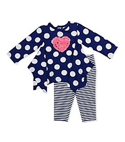Baby Essentials® Baby Girls' Polka Dot Heart Top And Striped Leggings Set