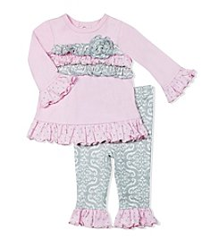 Baby Essentials® Baby Girls' Ruffle Top And Printed Leggings Set