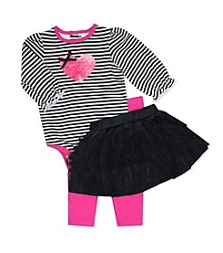 Baby Essentials® Baby Girls' Striped Heart Bodysuit, Tutu And Leggings Set