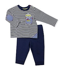 Baby Essentials® Baby Boys Striped Little Super Hero Tee And Pants Set