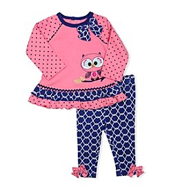 Baby Essentials® Baby Girls' Owl Applique Top And Leggings Set