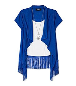 Amy Byer Girls' 7-16 Short Sleeve Layered Fringe Cardigan With Necklace