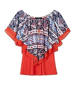 Amy Byer Girls' 7-16 Printed Butterfly Sleeve Top With Necklace