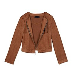 Amy Byer Girls' 7-16 Long Sleeve Suede Fringe Jacket