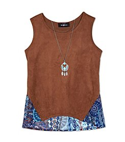 Amy Byer Girls' 7-16 Suede Tank With Necklace