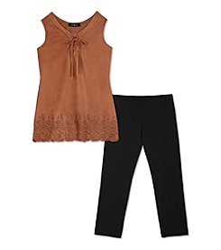 Amy Byer Girls' 7-16 Suede Lace Up Tank And Leggings Set