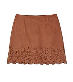 Amy Byer Girls' 7-16 Faux Suede Laser Cut Mini Skirt