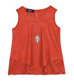 Amy Byer Girls' 7-16 Suede Laser Cut Tank With Necklace