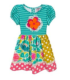 Rare Editions® Girls' 4-6X Floral Applique Mixed Prints Dress
