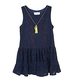 Rare Editions® Girls' 4-6X Crochet Dropwaist Dress With Necklace