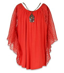 Speechless® Girls' 7-16 Lace Trim Circle Top With Necklace