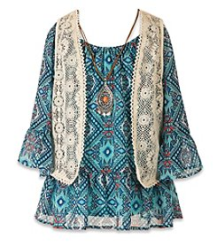 Speechless® Girls' 7-16 Long Sleeve Peasant Top With Vest And Necklace