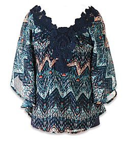 Speechless® Girls' 7-16 Crochet Trim Printed Circle Top