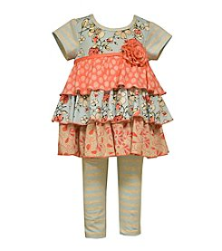 Bonnie Jean® Girls' 2T-6X Short Sleeve Ruffle Top And Leggings Set