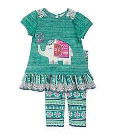 Rare Editions® Girls' 2T-6X Elephant Peplum Top And Leggings Set