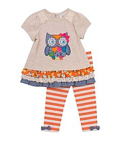Rare Editions® Girls' 2T-6X Owl Peplum Top And Leggings Set
