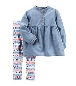 Carter's Girls' 2T-4T 2-Piece Chambray Top And Geo Leggings Set