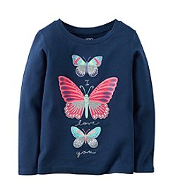 Carter's® Girls' 2T-8 Long Sleeve Butterfly Tee