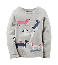 Carter's® Girls' 2T-8 Long Sleeve Playful Puppies Tee