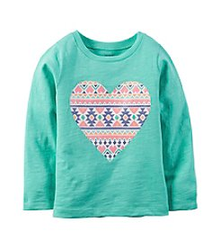 Carter's® Girls' 2T-8 Long Sleeve Geo Heart Tee