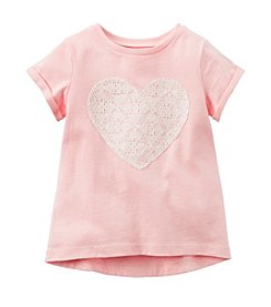 Carter's® Girls' 2T-6X Short Sleeve Lace Heart Tee