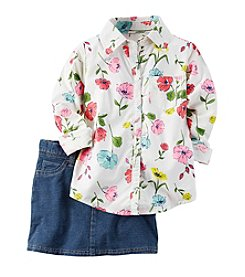 Carter's® Girls' 4-8 2-Piece Floral Top And Denim Skirt Set