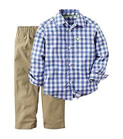 Carter's® Baby Boys 2-Piece Checked Shirt And Pants Set