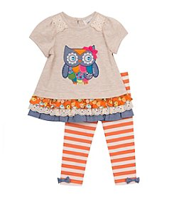 Rare Editions® Baby Girls' Owl Peplum Top And Leggings Set