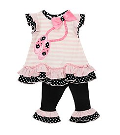 Rare Editions® Baby Girls' Ballet Slippers Peplum Top And Leggings Set