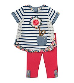 Rare Editions® Baby Girls' Flower Applique Top And Leggings Set