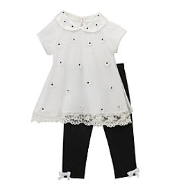 Rare Editions® Baby Girls' Daisy Applique Top And Leggings Set