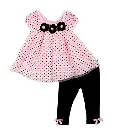Rare Editions® Baby Girls' Dotted Rosettes Top And Leggings Set
