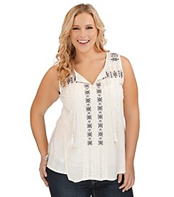 Lucky Brand® Plus Size Split Neck Tank With Tassels