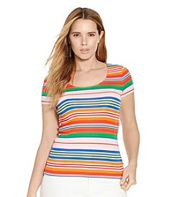 Lauren Ralph Lauren® Plus Size Striped Scoopneck Tee