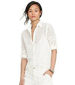 Lauren Ralph Lauren® Petites' Long-Sleeve Eyelet Shirt