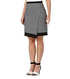 Rafaella® Printed Ponte Faux Wrap Skirt