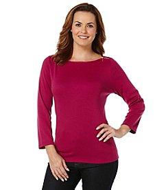 Rafaella® Solid Zip Shoulder Top