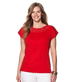 Chaps® Plus Size Macrame Cotton Top