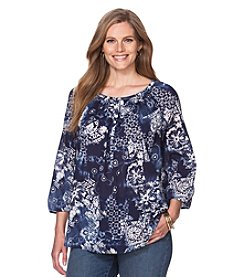 Chaps® Plus Size Indigo Patchwork Top