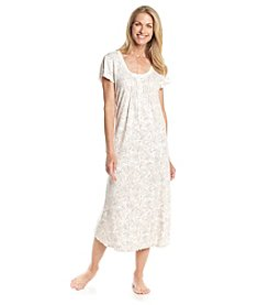 Miss Elaine® Long Printed Nightgown