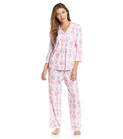 KN Karen Neuburger Printed Notch Collar Pajama Set
