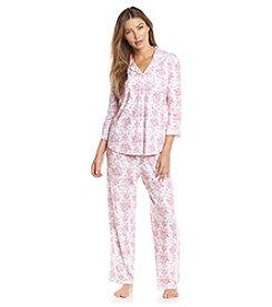 KN Karen Neuburger Printed Notch Collar Pajama Set